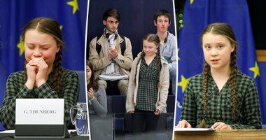 """طفلة تحاضر عتاة الساسة بأوروبا.. """"جريتا ثانبيرج"""" أصغر ناشطة بيئية بالعالم تخاطب البرلمان الأوروبى.. الفتاة السويدية بدأت طريقها بالاعتصام أمام البرلمان.. وتخشى على مستقبل الأجيال جراء التغيرات المناخية (صور)"""