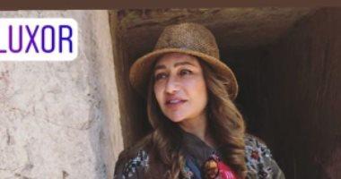 ليلى علوى تشارك بصور من المقبرة الأثرية الجديدة فى الأقصر