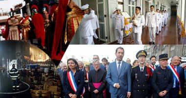 """صور.. """"العالم هذا الصباح"""".. مسيرة حزينة فى قلب باريس على خلفية حريق كاتدرائية نوتردام التاريخية.. مكسيكيون يحيون احتفلات الأسبوع المقدس.. بدء مراسم تتويج الملك الجديد فى تايلاند بحمل المياه المقدسة"""