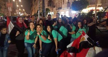 صور.. العاملون بمصر للطيران ينظمون مسيرة لدعم التعديلات الدستورية