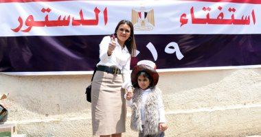 """صور.. سحر نصر لـ""""اليوم السابع"""": الاستفتاء رسالة قوية من المصريين للعالم"""