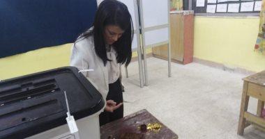 وزيرة السياحة تدلى بصوتها فى الاستفتاء على التعديلات الدستورية