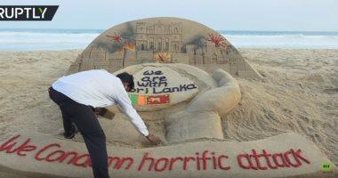 فنان تشكيلي هندى يصنع مجسما من الرمال تضامنا مع ضحايا سريلانكا