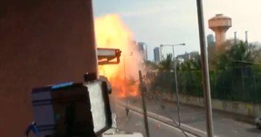شاهد.. انفجار حافلة ملغمة فى سريلانكا خلال عملية تفكيك المتفجرات فيها