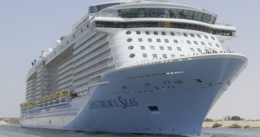 صور.. أحدث سفينة ركاب فى العالم تعبر قناة السويس