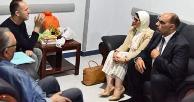 وزيرة الصحة تزور الاعلامى شريف مدكور بمستشفى دار الشفاء