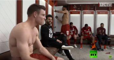شاهد.. رد فعل لاعبى ليفربول بعد فوزهم على برشلونة وكيف عبر صلاح عن فرحته