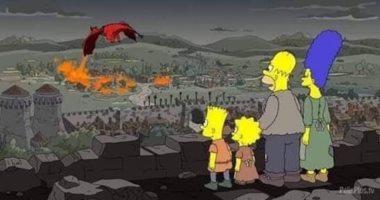 The Simpsons يتوقع اشتعال النيران فى ويسترون بـ  Game Of thrones