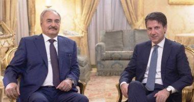 قائد الجيش الوطنى الليبى حفتر يجتمع مع رئيس الوزراء الإيطالى كونتى