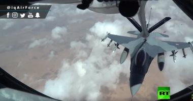 """شاهد.. مقاتلات """"إف 16"""" عراقية تتزود بالوقود جوا فى العراق"""