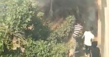 فيديو.. قارئ يشارك بحريق داخل مدرسة فنية فى باب الشعرية بسبب عقب سيجارة