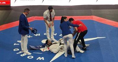 إصابة محمد أيمن لاعب منتخب التايكوندو فى بطولة العالم