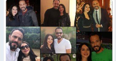 شاهد.. كيف احتفل يوسف الشريف وإنجى علاء بعيد زواجهما العاشر