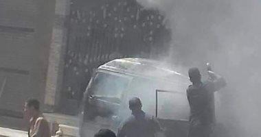 صور.. السيطرة على حريق سيارة بمنطقة كفر الجزار فى بنها
