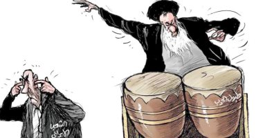 كاريكاتير يظهر رفض الشعب الإيرانى للحرب مع الولايات المتحدة