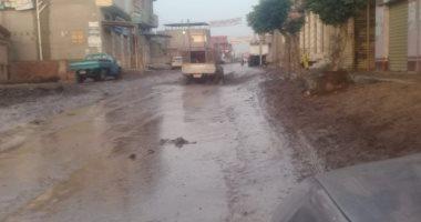 غرق شارع أمير مظلوم بالمنصورة فى مياه الصرف الصحى