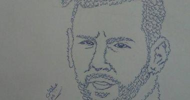 بالفحم والرصاص.. عبد الرحمن يبدع فى رسم البورتيرهات الفنية