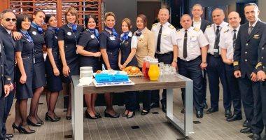مصر للطيران تحتفل بوصول رحلتها الافتتاحية إلى مطار دالس بواشنطن