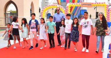 صور.. السيسي يصطحب أبناء الشهداء أثناء دخول قاعة احتفالية عيد الفطر