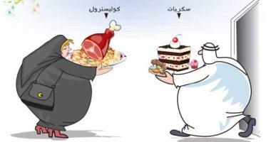 كاريكاتير الصحف السعودية.. تحذير من الإفراط فى تناول الطعام بعيد الفطر