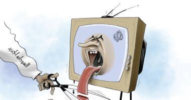 كاريكاتير الصحف الإماراتية.. نظام السودان الجديد يقطع لسان قناة الجزيرة
