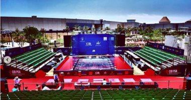 شاهد استعدادات الملعب الزجاجي بمول العرب لاستضافة بطولة CIB للاسكواش