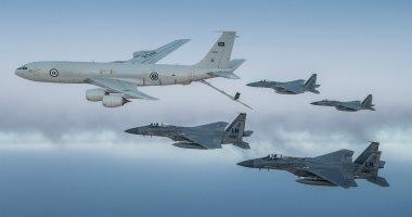 """فيديو وصور.. طائرات """"إف 15 سى"""" سعودية وأمريكية تحلق فوق الخليج العربى"""