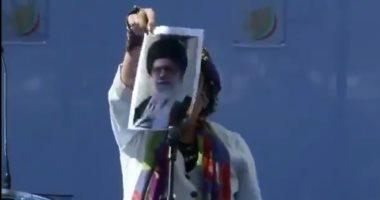 حرق صورة المرشد الإيرانى فى مظاهرات حاشدة ببروكسل.. فيديو وصور