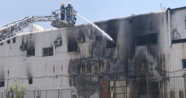 صور.. حريق فى مصنع رخام بالمنطقة الصناعية بالمدينة المنورة