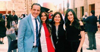 """صور.. طارق علام ودينا رامز يحتفلان بتخرج ابنتهما """"عهد"""""""