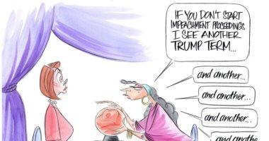 العرافة تدعو نانسى بيلوسى لعزل ترامب.. كاريكاتير واشنطن بوست