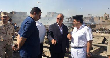محافظ القاهرة يتفقد حريق سوق الخضار بالعتبة ويوجه بإصلاح التلفيات.. صور