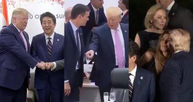 """أبرز مواقف ترامب فى قمة العشرين × 5 فيديوهات.. تصرف غريب مع رئيس وزراء إسبانيا.. ولقطة محرجة لرئيس وزراء اليابان.. وماكرون يهمس فى أذنه.. وقبلات زوجات الرؤساء خلال الصور العائلية.. و""""نخب القمة"""" مع بوتين"""