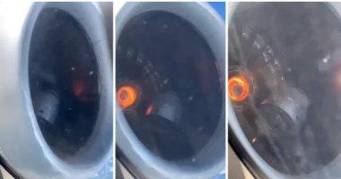 """""""أنقذ الركاب"""".. مسافر يكتشف انهيار محرك طائرة من النافذة.. فيديو وصور"""