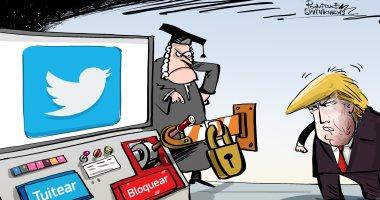 """ترامب غاضب فى كاريكاتير """"سبوتنك"""" بعد منعه من حظر متابعين له على تويتر"""