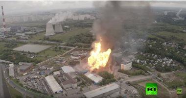 شاهد.. صورة جوية لحريق محطة الطاقة الحرارية بضواحى موسكو