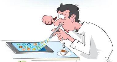 كاريكاتير الصحف السعودية.. مواقع التواصل الاجتماعى إدمان