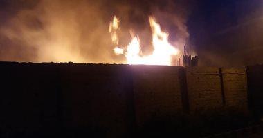 صور.. حريق يلتهم أخشاب وبوص بقطعة أرض خلف كلية دراسات دسوق بكفر الشيخ