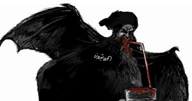 """كاريكاتير الصحف السعودية.. ميليشيا الحوثى """"مصاص دماء"""""""