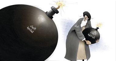 كاريكاتير الصحف الإماراتية.. إيران محاطه بقنابل الأزمات الموقوتة