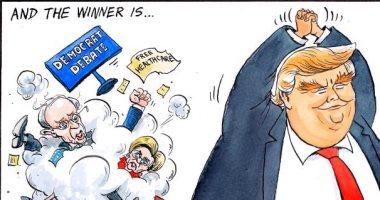 """ترامب الفائز الأول.. كيف علق كاريكاتير """"التايمز"""" على مناظرات الديمقراطيين ؟"""