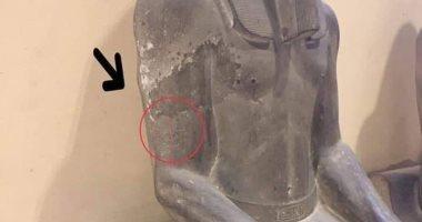 القصة الكاملة لتمثال سنوسرت من التشوية لـ المعالجة بمتحف التحرير.. صور