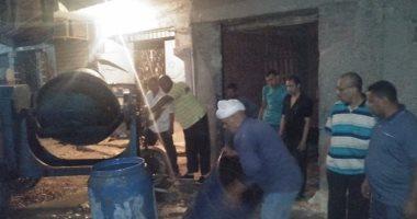 صور.. التحفظ على مواد وأدوات بناء تستخدم فى إنشاء عقار مخالف بالإسكندرية