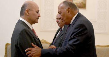 الرئيس العراقى يستقبل وزيرى خارجية مصر والأردن بقصر السلام فى بغداد