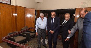 رئيس الوزراء يتفقد مبنى معهد الأورام ويزور مصابى الحادث الإرهابى