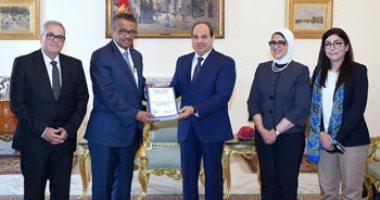 شاهد.. لقاء الرئيس السيسى بمدير منظمة الصحة العالمية