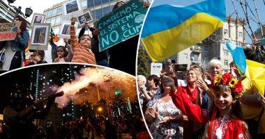صور.. العالم هذا المساء.. صدامات عنيفة بين شرطة هونج كونج والمحتجين وتبادل إطلاق الغاز المسيل..آلاف البرازيليين يخرجون للشوارع بسبب حرائق الأمازون.. تكريم المحاربين القدامى والمصابين فى عيد الاستقلال بأوكرانيا