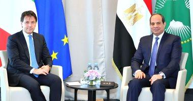 """السيسى يلتقى رئيس وزراء إيطاليا فى """"بياريتز"""" ويؤكد أهمية تطوير التعاون مع روما"""