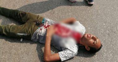 """صور.. شاب يذبح نفسه محاولا الانتحار أمام النادى """"الاجتماعى"""" بالشرقية"""