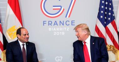 لقاء ترامب والسيسى على هامش الـ G7